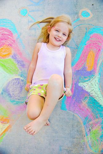 little girl chalk drawings